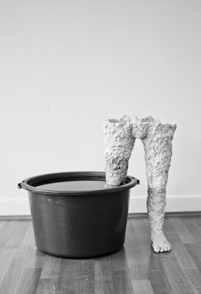 o.T., 2015, Höhe ca. 60cm, Ton, Plastiktonne, Wasser